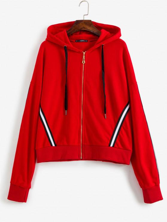 lady Sporty Stripes Zip Up Hoodie - LAVA RED L