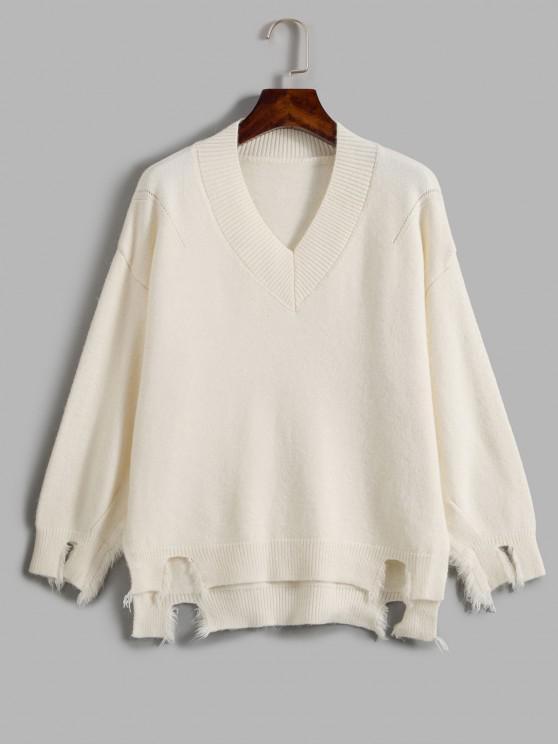 Ausgefranster Übergroße Pullover - Weiß Eine Größe