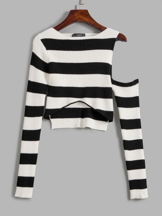 Kontrast Gestreifter Hoher Niedriger Pullover - Schwarz Eine Größe