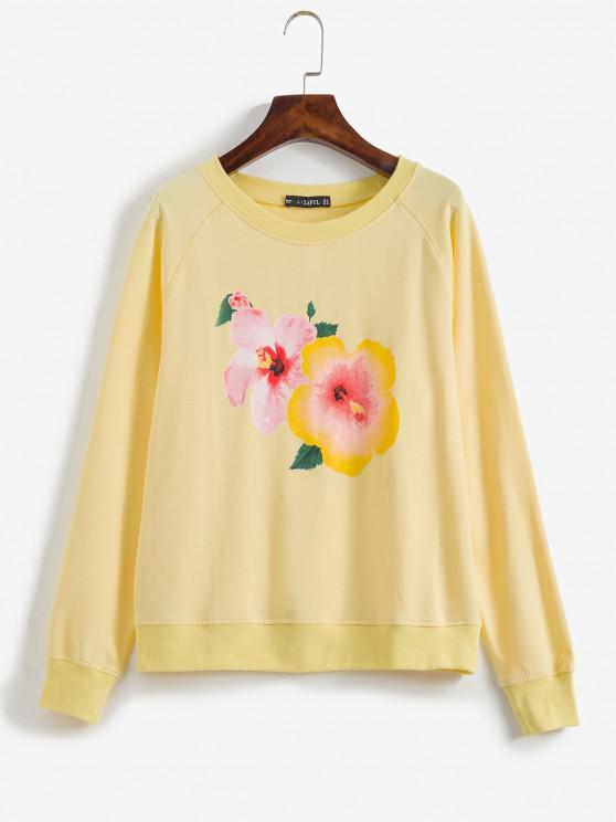 women Raglan Sleeve Floral Graphic Sweatshirt - CORN YELLOW L