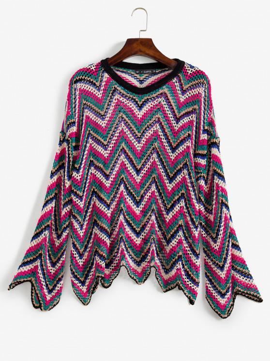Zickzack Durchbrochener Pullover - Multi Eine Größe