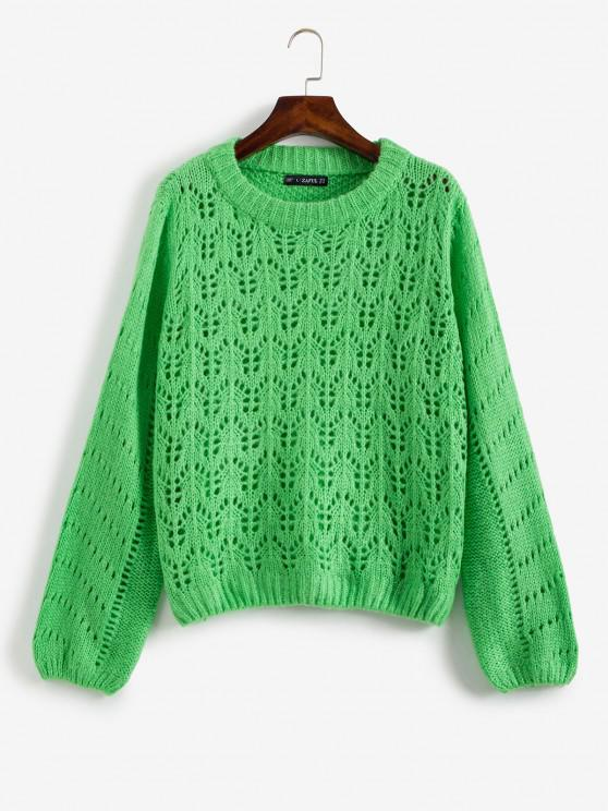 outfits Open Knit Sweater Jumper - GREEN M