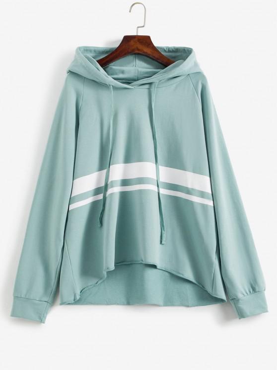 womens Raglan Sleeve Stripes Panel Hoodie - CYAN OPAQUE L