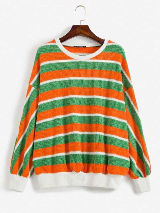 fashion ZAFUL Contrast Striped Sparkly Christmas Sweater - MULTI S