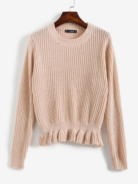 ZAFUL Glänzende Faden Rüschen Pullover - Helles Rosa Eine Größe