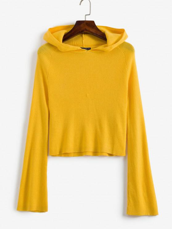 shops ZAFUL Ribbed Hooded Cropped Sweater - YELLOW M