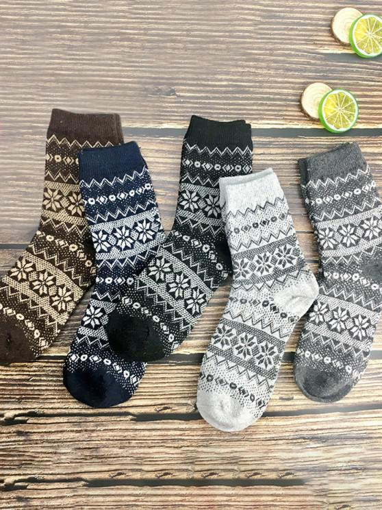 affordable 5 Pairs Retro Snowflake Pattern Socks Set - MULTI-A