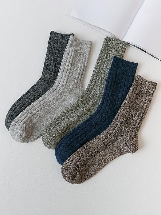 women 5 Pairs Marled Quarter Socks Set - MULTI-A