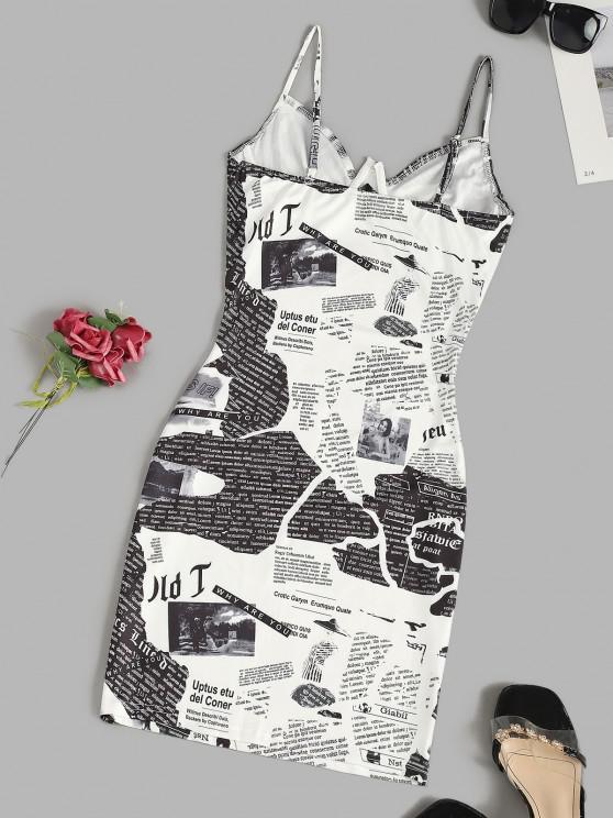 Newspaper Print Underwire Cami Bodycon Dress - White Xs   ZAFUL