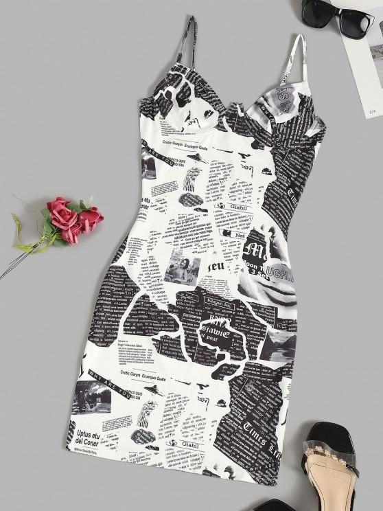 shops Newspaper Print Underwire Cami Bodycon Dress - WHITE XS