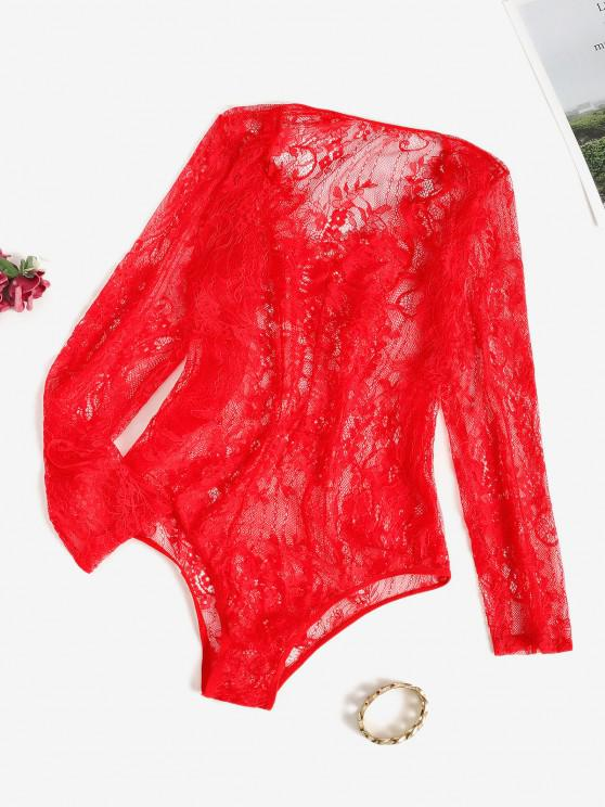 latest Sheer Lace Long Sleeve Bodysuit - RED ONE SIZE