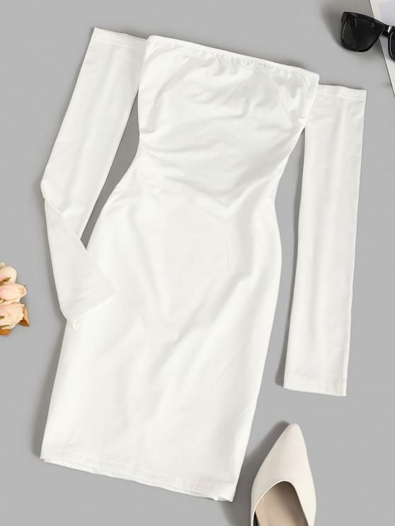 Off The Shoulder Lace-up Fleece Lined Slinky Dress - أبيض L