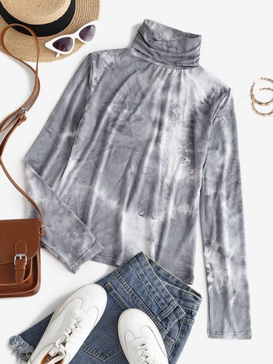 outfit Turtleneck Tie Dye Layering Tee - GRAY M