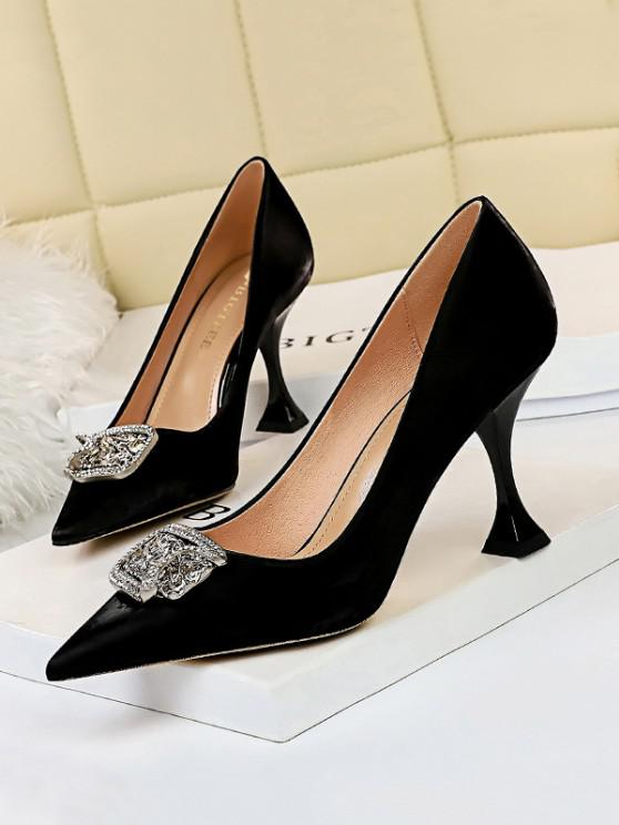 unique Metal Rhinestone High-heeled Shoes - BLACK EU 38