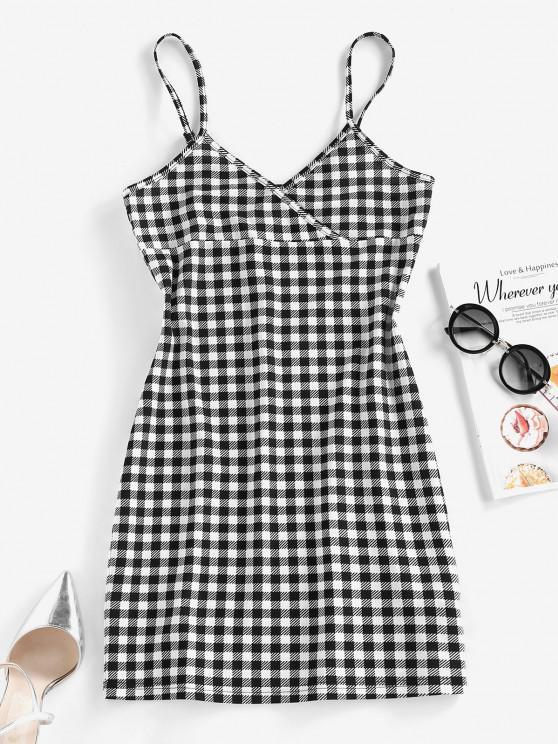 women's ZAFUL Checked Mini Bodycon Dress - BLACK S