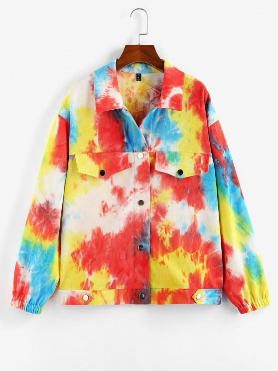 ZAFUL Chaqueta de Cuello de Tie Dye - Multicolor-B XL