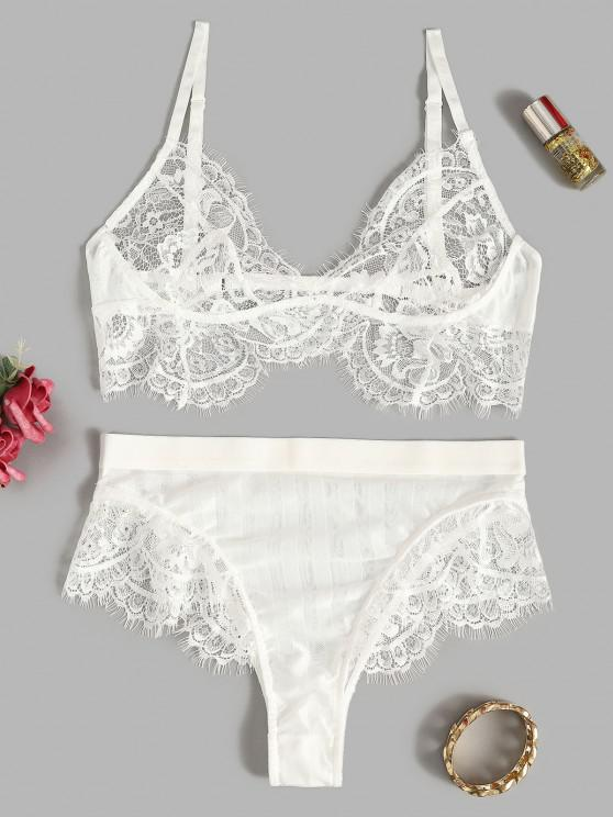 ladies Lace Eyelash Sexy See Thru Lingerie Bralette Set - WHITE L