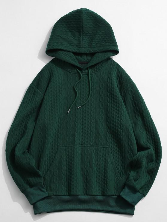 Front Pocket Embossed Pattern Solid Hoodie - ديب غرين 2XL