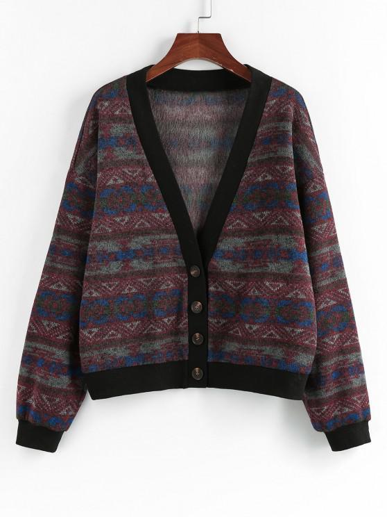 chic ZAFUL Tribal Geo Drop Shoulder Button Up Cardigan - MULTI-A S