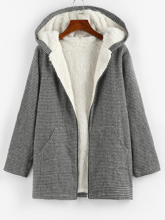 ZAFUL Manteau à Capuche Fourré Carreaux à Grille avec Poche en Tweed - Noir M