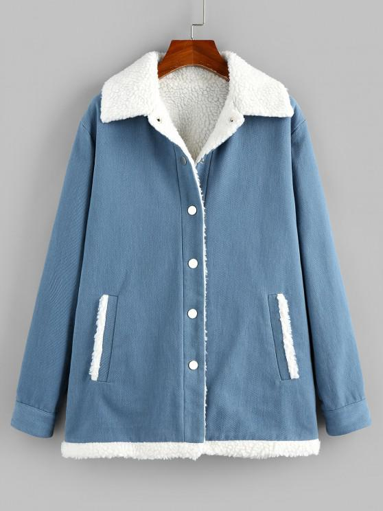 women's ZAFUL Faux Shearling Lined Borg Collar Pocket Coat - SLATE BLUE M