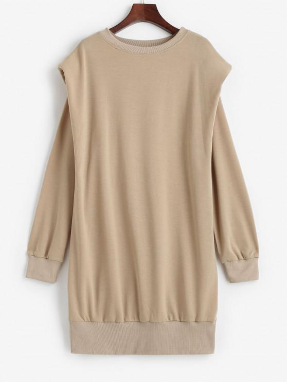 outfits Crewneck Shoulder Pads Sweatshirt Dress - LIGHT COFFEE S