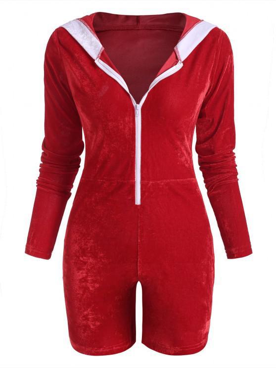 trendy Christmas Pom-pom Hooded Velvet Half Zip Romper - RED M