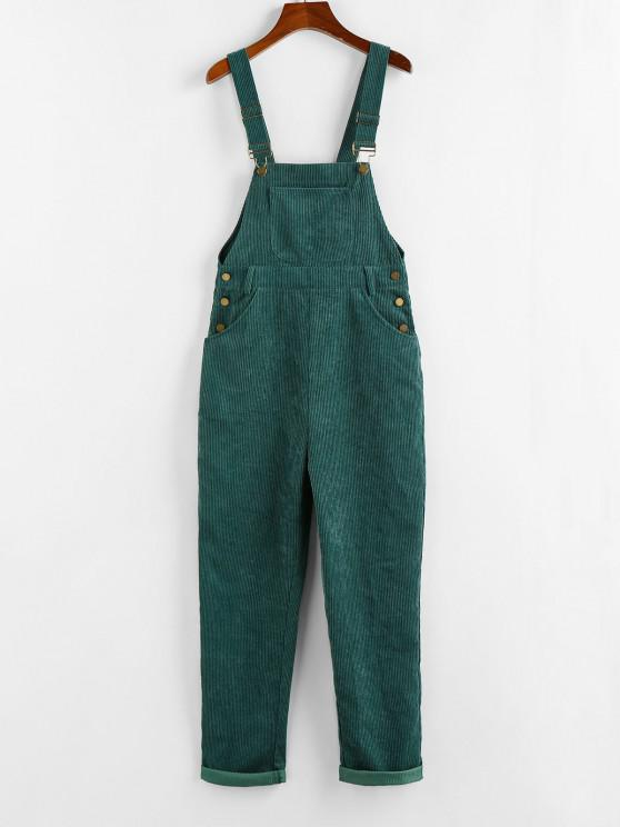 online ZAFUL Corduroy Pocket Overall Jumpsuit - GREEN XL