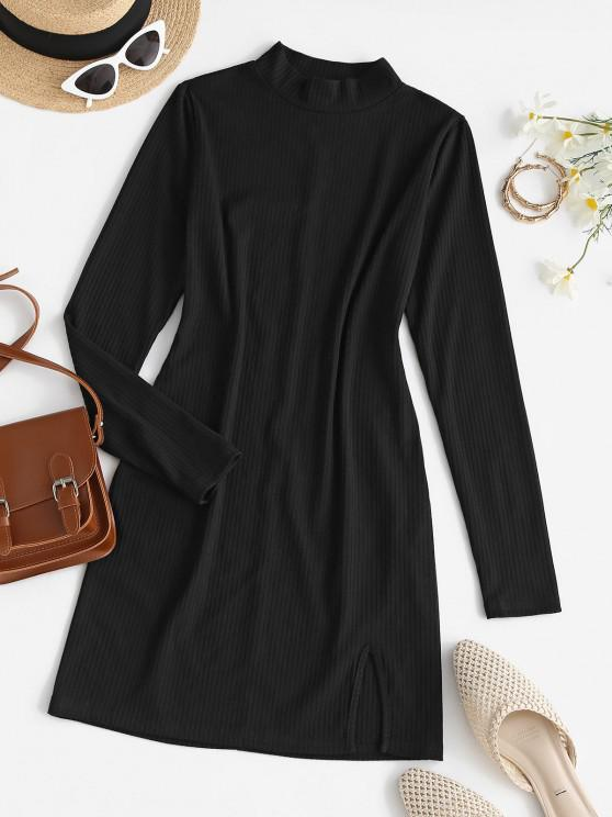 ZAFUL Mock Neck Ribbed Mini Fitted Dress - أسود S