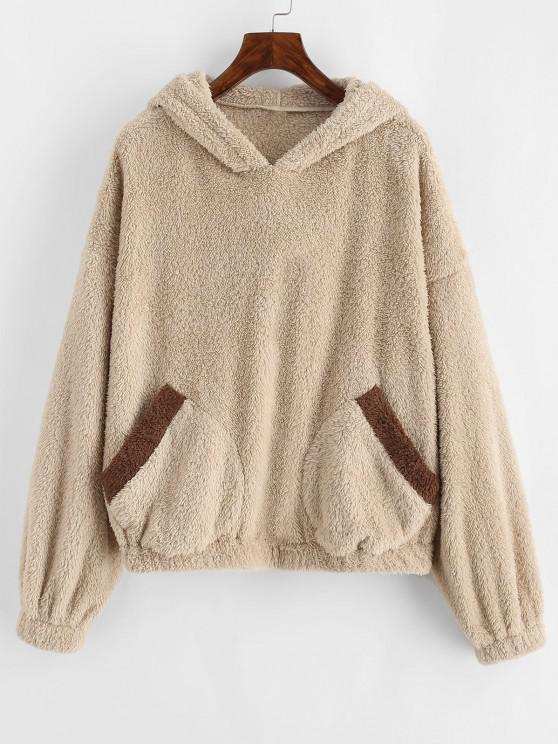 ZAFUL Fluffy Drop Shoulder Bear Ear Colorblock Hoodie - مشمش L