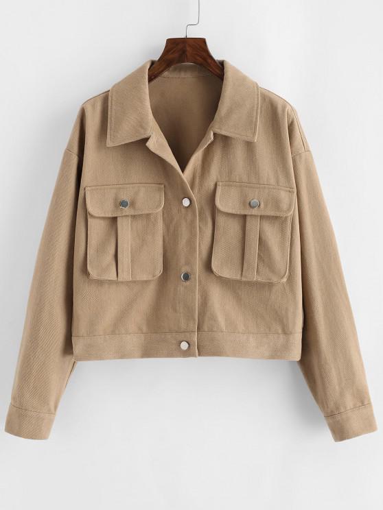 buy ZAFUL Pocket Drop Shoulder Cargo Jacket - LIGHT KHAKI M