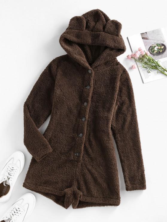 womens ZAFUL Ear Hood Fluffy Faux Fur Unitard Romper - BROWN S