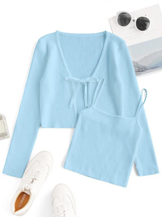 shop Tie Front Ribbed Cardigan with Knitted Cami Top - LIGHT BLUE M