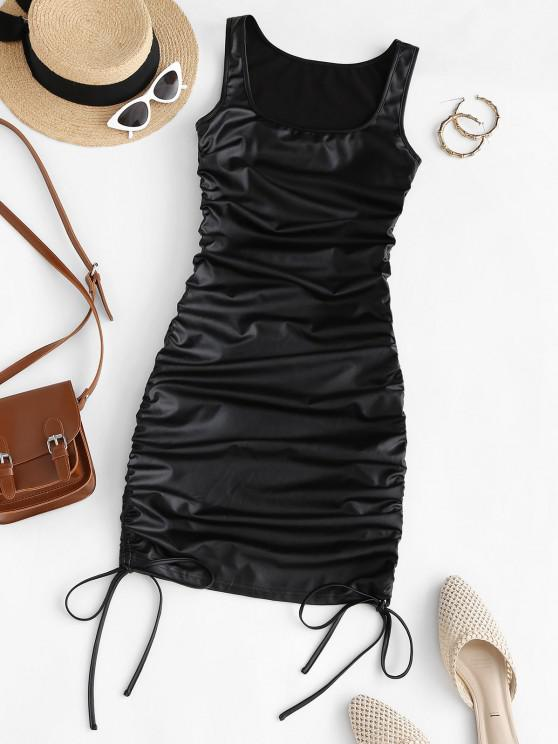 trendy ZAFUL Faux Leather Cinched Bodycon Dress - BLACK M