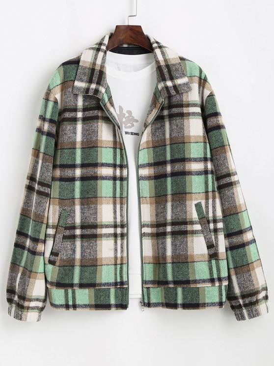 online Plaid Pattern Zip Up Wool Jacket - LIGHT GREEN S