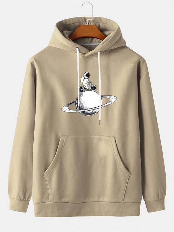 trendy Planet Astronaut Cycling Print Fleece Hoodie - BLANCHED ALMOND M