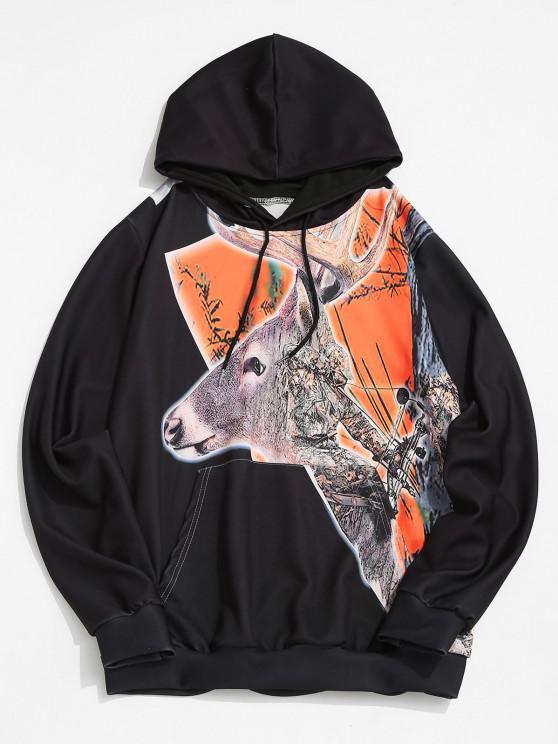 Christmas Elk Print Kangaroo Pocket Drawstring Hoodie - أسود M