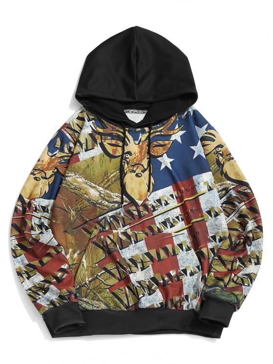 ladies Kangaroo Pocket American Flag Elk Print Hoodie - COOKIE BROWN L