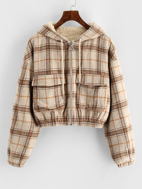 buy ZAFUL Plaid Hooded Fleece Lined Pocket Jacket - TAN S