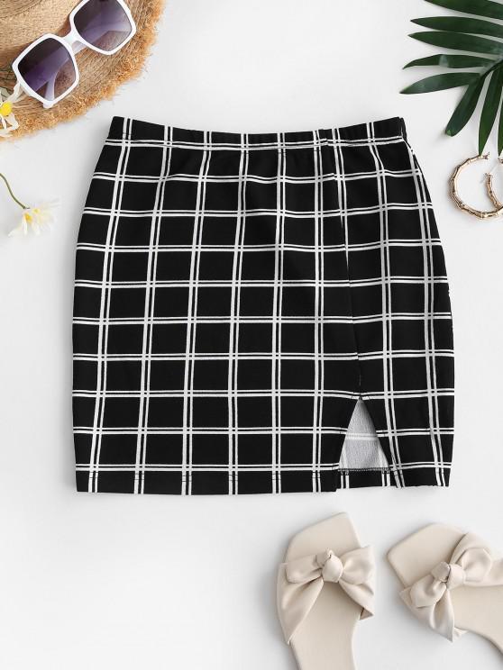 fancy ZAFUL Plaid Split Mini Sheath Skirt - BLACK L