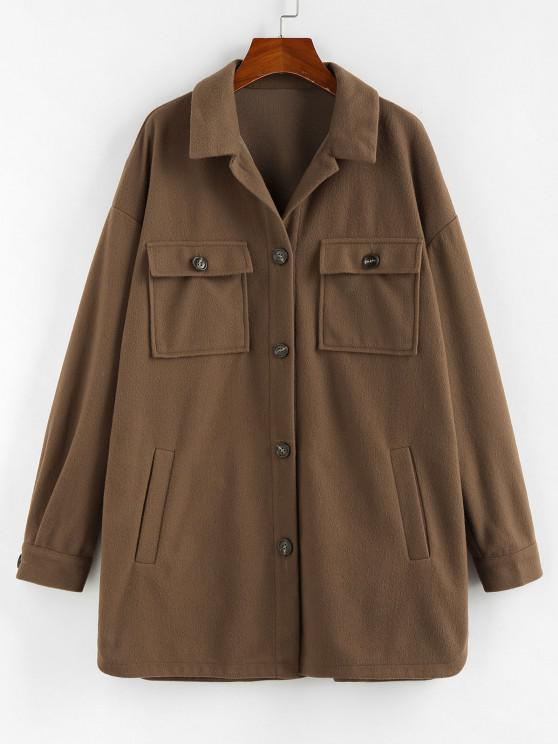 new ZAFUL Flap Pocket Drop Shoulder Button Front Tunic Coat - BROWN BEAR M