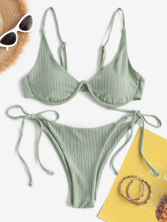 best ZAFUL Ribbed Underwire Tie Side High Leg Bikini Swimwear - LIGHT GREEN L