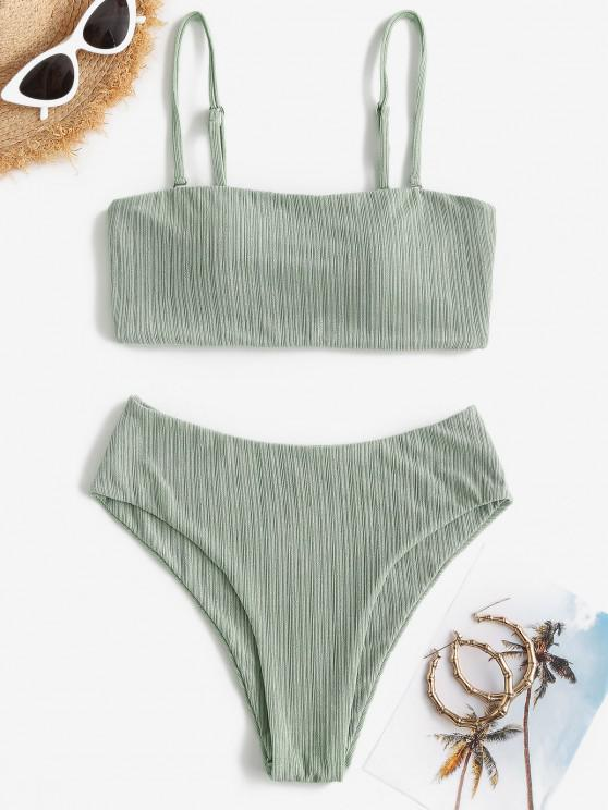 new ZAFUL Ribbed High Leg Cami Bikini Swimwear - LIGHT GREEN M
