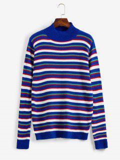 ZAFUL Striped Mock Neck Sweater - Blueberry Blue M