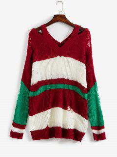 Ripped Color Block Sweater - Firebrick