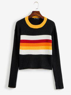 Color Block Ribbed Sweater - Black