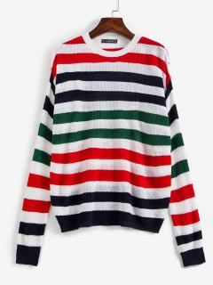 Striped Dropped Shoulder Sweater - Multi S