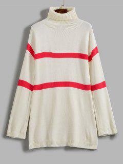 ZAFUL Stripe Turtleneck Sweater - White M