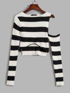 Suéter Alto-Baixo Com Listrado Em Contraste - Preto