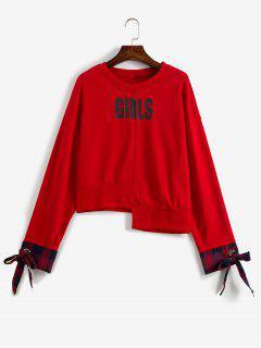 Grommet Tied Asymmetric Sweatshirt - Love Red L